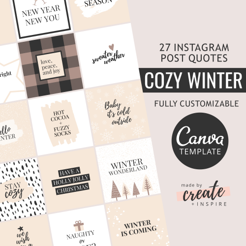 Winter Instagram Quotes Canva Template