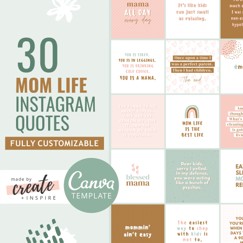 Mom Life Instagram Quotes Canva Template