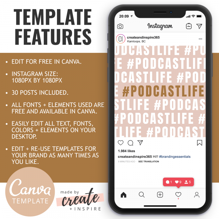 Podcaster Instagram Quotes Canva Template