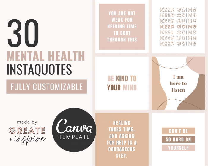 Mental Health Instagram Quotes Canva Template